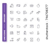 line icons set. grocery pack....