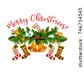 merry christmas greeting wish... | Shutterstock .eps vector #746714545