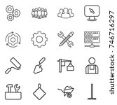 thin line icon set   gear  team ... | Shutterstock .eps vector #746716297