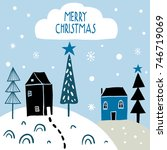 merry christmas. winter... | Shutterstock .eps vector #746719069