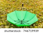 inverted green umbrella on the... | Shutterstock . vector #746719939