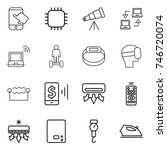 thin line icon set   touch ... | Shutterstock .eps vector #746720074