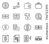 thin line icon set   dollar ... | Shutterstock .eps vector #746721595