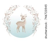a cute reindeer look back in a... | Shutterstock .eps vector #746723545