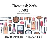 vector hand drawn makeup... | Shutterstock .eps vector #746724514