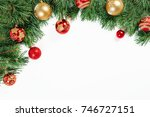 christmas frame   tree branches ... | Shutterstock . vector #746727151