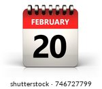 3d illustration of 20 february... | Shutterstock . vector #746727799
