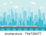 high speed train with urban... | Shutterstock .eps vector #746728477
