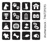 pet icons. grunge black flat... | Shutterstock .eps vector #746729191