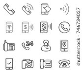thin line icon set   phone ... | Shutterstock .eps vector #746734027