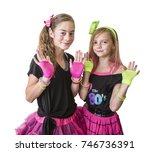 young girls dressed in retro... | Shutterstock . vector #746736391
