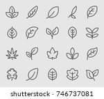 leaf outline icons | Shutterstock .eps vector #746737081