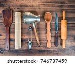 set of various kitchen tools on ... | Shutterstock . vector #746737459