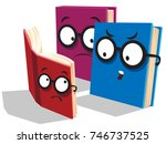 two cartoon parent books are...   Shutterstock . vector #746737525