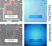 set maze texture vintage and... | Shutterstock .eps vector #746737951