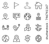 thin line icon set   pointer ... | Shutterstock .eps vector #746741167