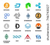 criptocurrency icon set. main... | Shutterstock .eps vector #746743027