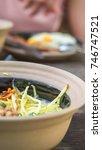 breakfast and wooden table... | Shutterstock . vector #746747521