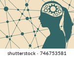 silhouette of a woman's head.... | Shutterstock .eps vector #746753581