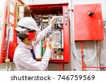 engineer checking industrial... | Shutterstock . vector #746759569