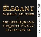 elegant golden letters. shiny... | Shutterstock .eps vector #746761807