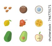 fruit vector icon set | Shutterstock .eps vector #746770171