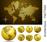 Vector dotted Map and Globe of the World - Gold.  Easy change colors. Eps8 - stock vector