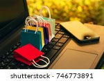 six paper shopping bags and... | Shutterstock . vector #746773891