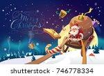 merry christmas lettering.... | Shutterstock . vector #746778334