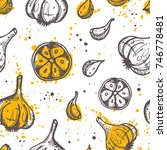 seamless pattern with garlic....   Shutterstock .eps vector #746778481