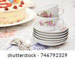 a lot of cups with tea | Shutterstock . vector #746792329