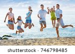 large cheerful family of six... | Shutterstock . vector #746798485