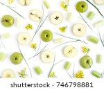 pattern of green apples. fruits ...   Shutterstock . vector #746798881