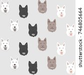seamless pattern with head of... | Shutterstock .eps vector #746805664