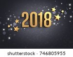 gold year 2018 typescript and...   Shutterstock . vector #746805955