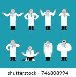 doctor set. physician sad and... | Shutterstock .eps vector #746808994