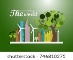 illustration of eco and world... | Shutterstock .eps vector #746810275
