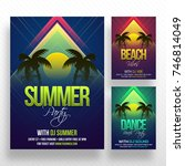 party banner or flyer with... | Shutterstock .eps vector #746814049