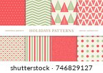 set of winter holiday seamless... | Shutterstock .eps vector #746829127