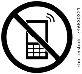 no cell phones sign black and... | Shutterstock .eps vector #746830321