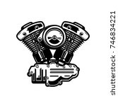 motorcycle engine illustration... | Shutterstock .eps vector #746834221