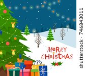 decorated christmas tree with...   Shutterstock .eps vector #746843011