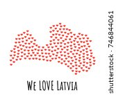 latvia map with red hearts ... | Shutterstock .eps vector #746844061