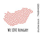 hungary map with red hearts ... | Shutterstock .eps vector #746844085