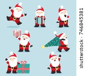 cute little santa claus posing... | Shutterstock .eps vector #746845381