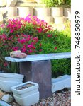 Garden Bench With Bright Pink...