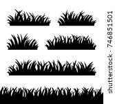 set of grass silhouettes  tuft... | Shutterstock .eps vector #746851501