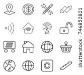 thin line icon set   pointer ... | Shutterstock .eps vector #746852821