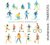 winter and summer activities... | Shutterstock .eps vector #746855251