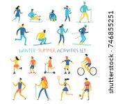 winter and summer activities... | Shutterstock .eps vector #746855251